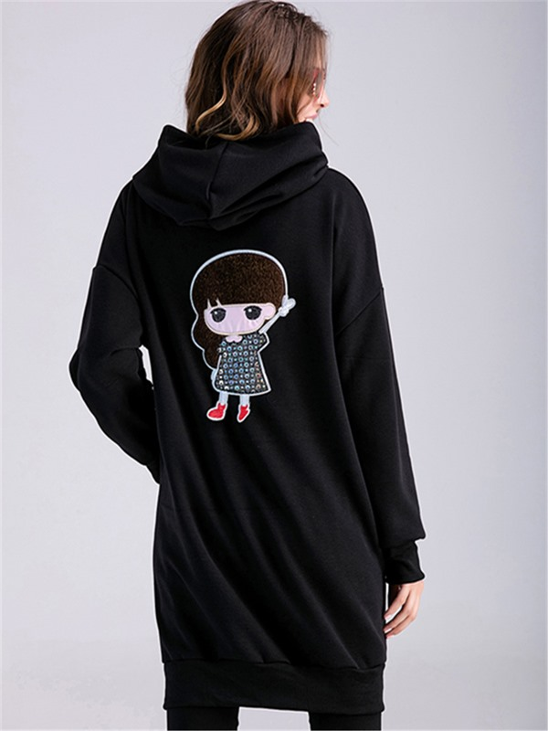 Stylish Full-Zip Cartoon Printed Maternity Hoodie