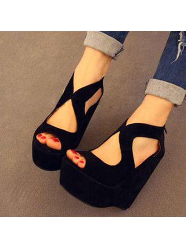 Simple Black Suede Wedge Sandals