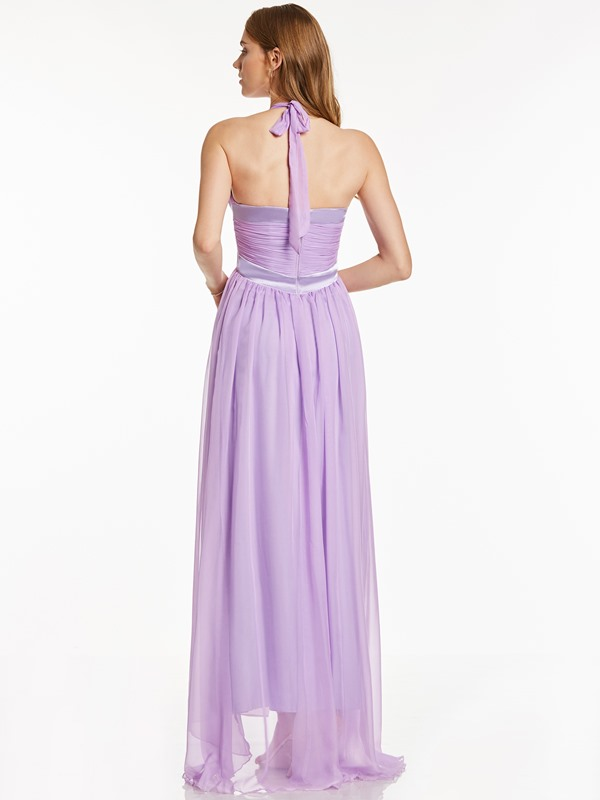 Halter Neck A-Line Draped Evening Dress