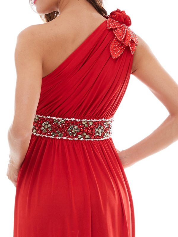 One-Shoulder Pleated Beading A-Line Evening Dress