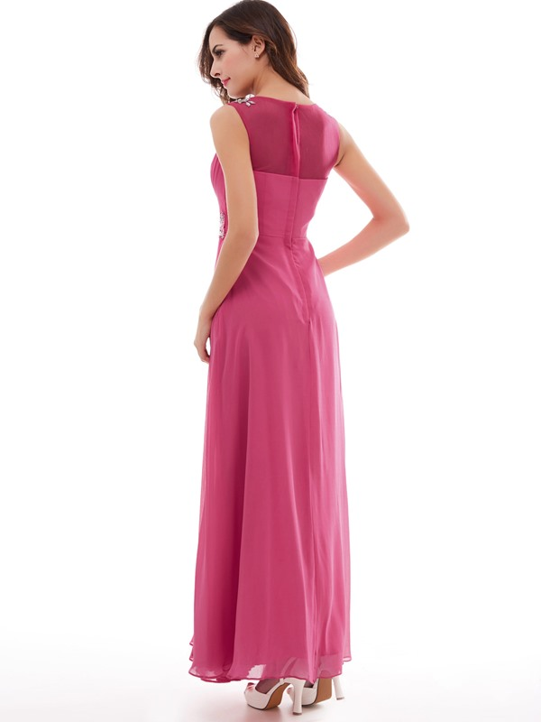 Pretty Beading Appliques Pleated A-Line Prom Dress