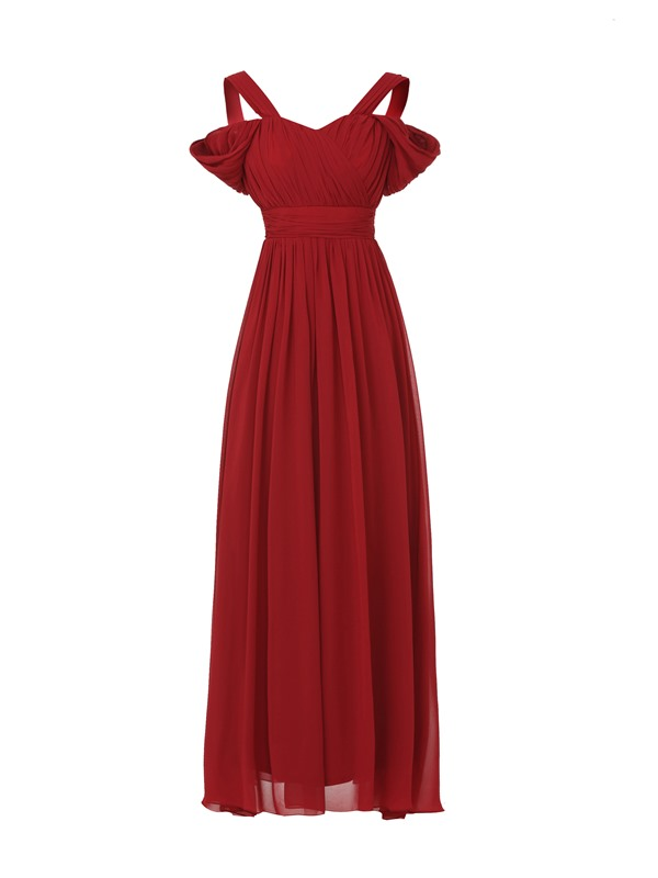 Fancy A-Line Straps Pleated Evening Dress