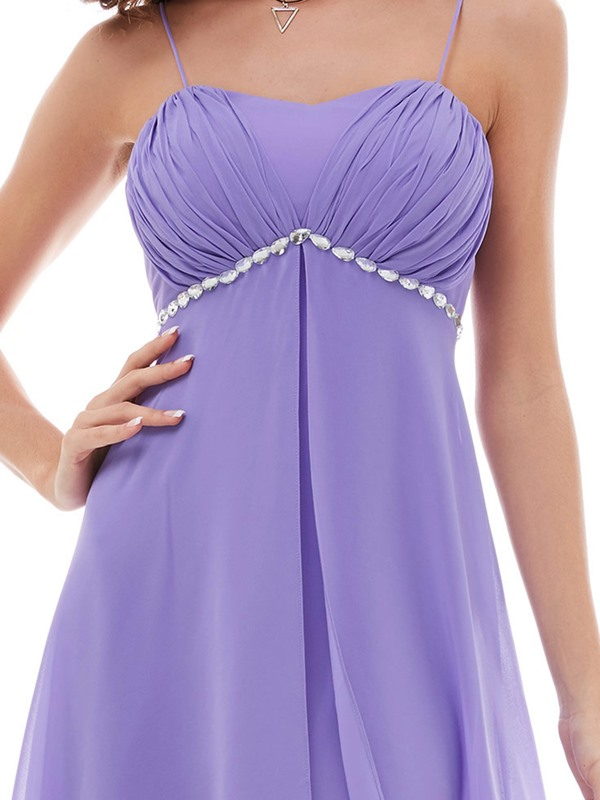 Spaghetti Straps Empire Waist Beaded Evening Dress