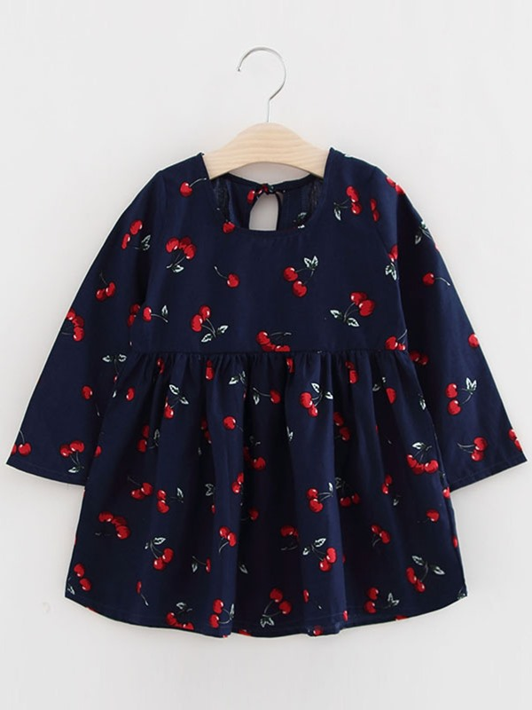 Stylish Printing Back-Hollow Girl's Dress