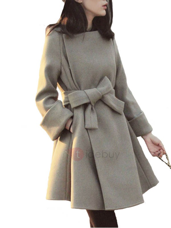 Belt Lace-Up Long Sleeve Plain Overcoat