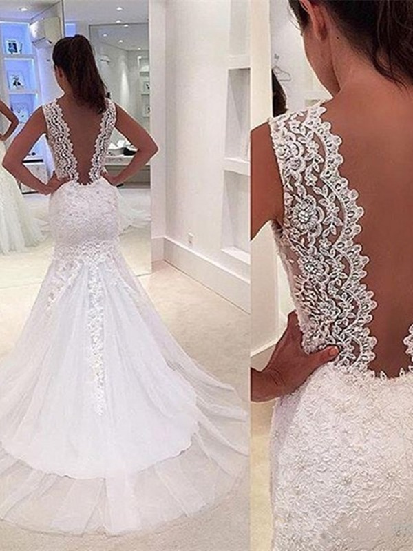 Appliques Mermaid Low Back Wedding Dress