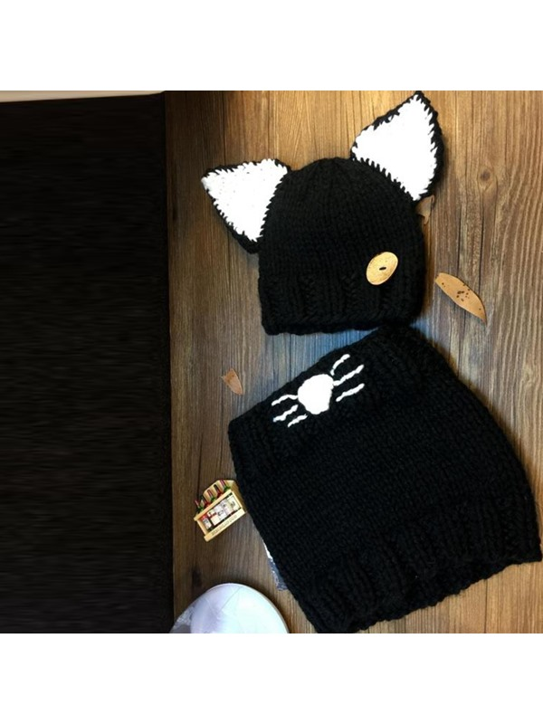 Lovely Knitted Cat Design Kid's Hat & Neck Warmer