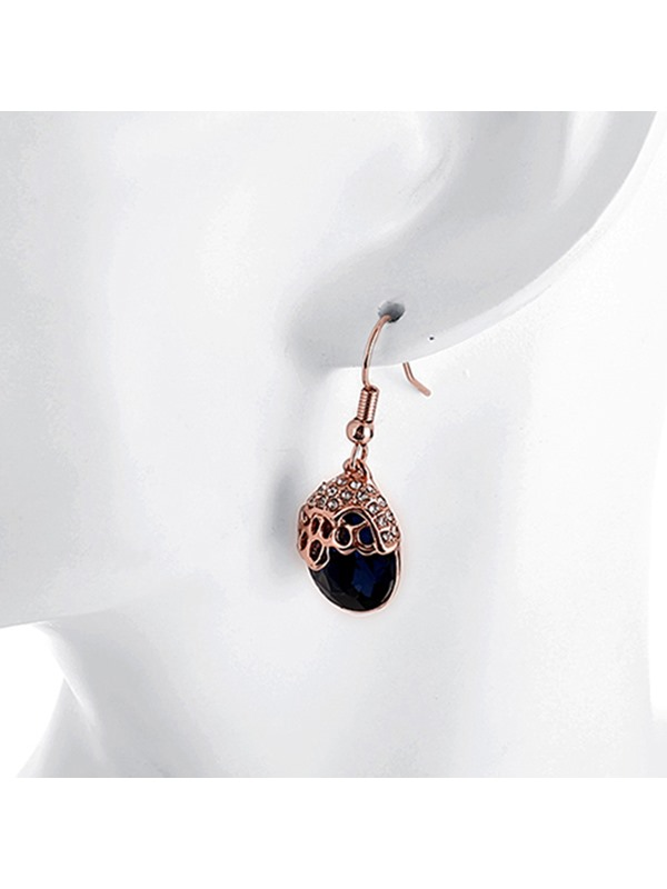 Water Drop Shaped Sapphire Pendant Earrings