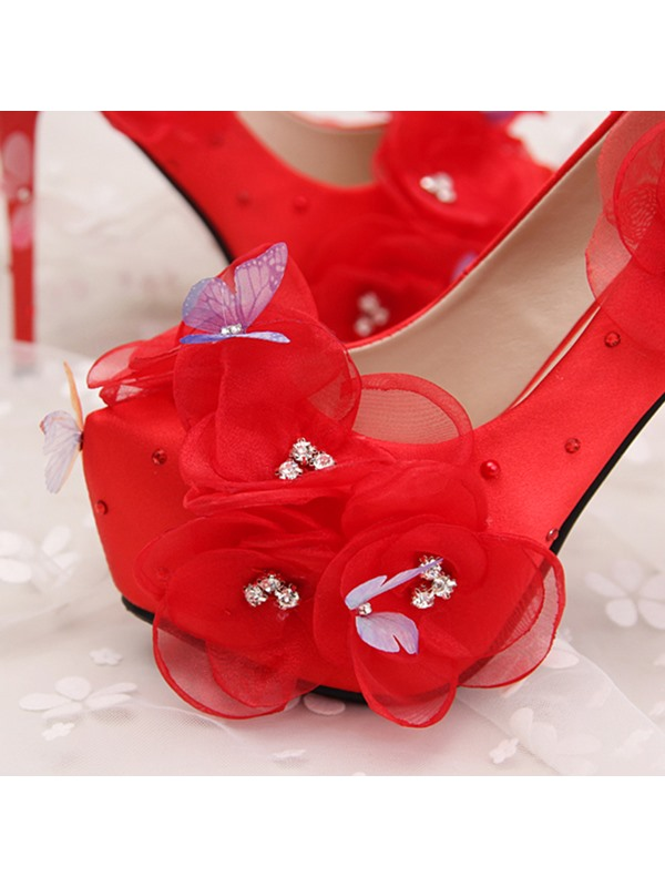 Classy PU Appliques Rhinestone Slip-On Wedding Shoes