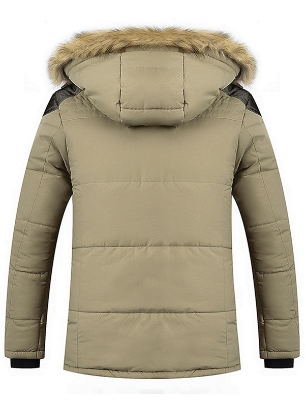 Plain Hooded Men's Casual Fleece Parka