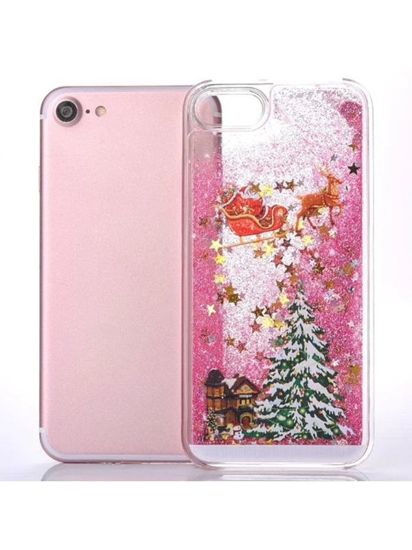 For iPhone6/6s/6plus/6splus/7/7plus Santa Claus Glitter Star Flowing Liquid Christmas Case