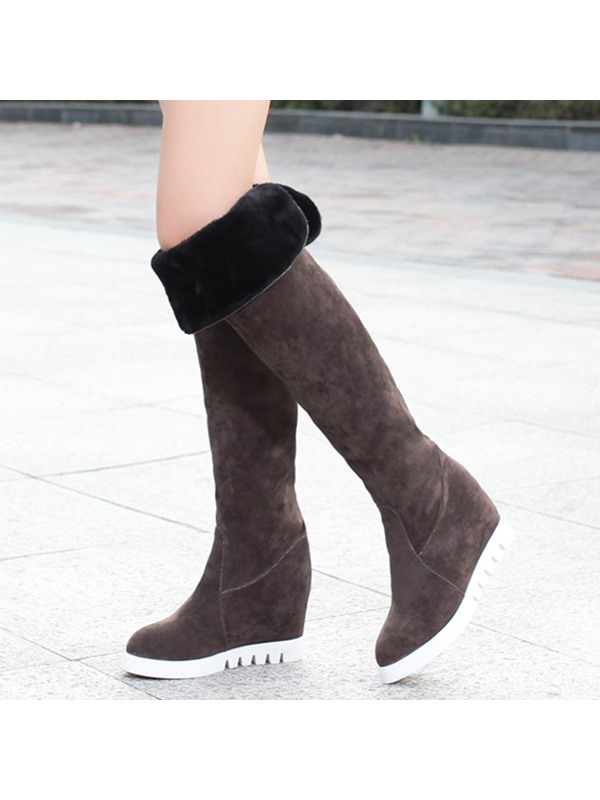 PU Slip-On Platform Hidden Heel Women's Boots