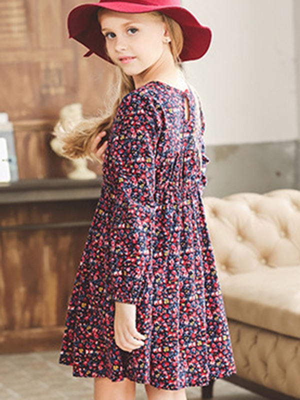 Floral Print Thickening Girls Dress