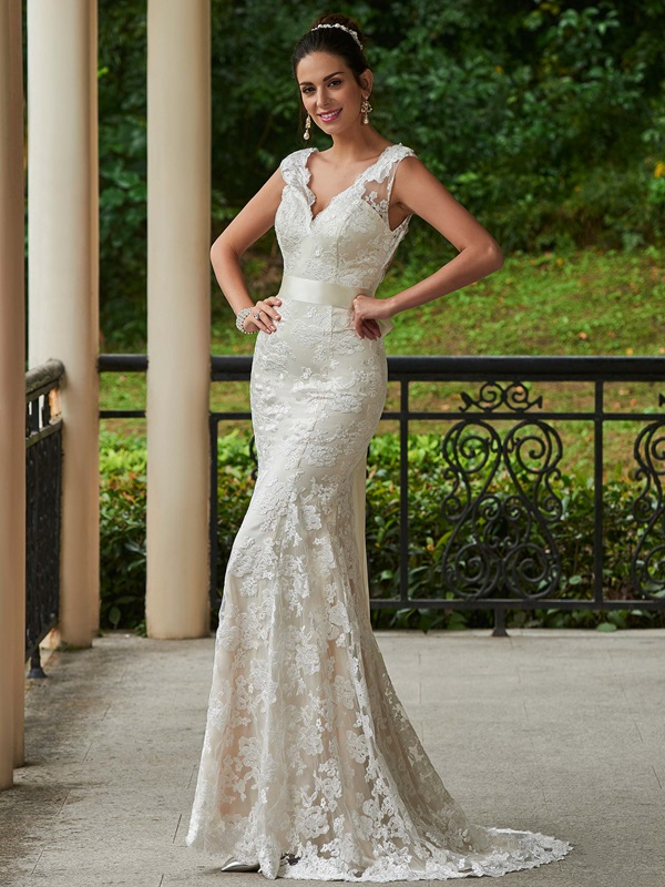 Charming V Neck Lace Sheath Wedding Dress With Sashes