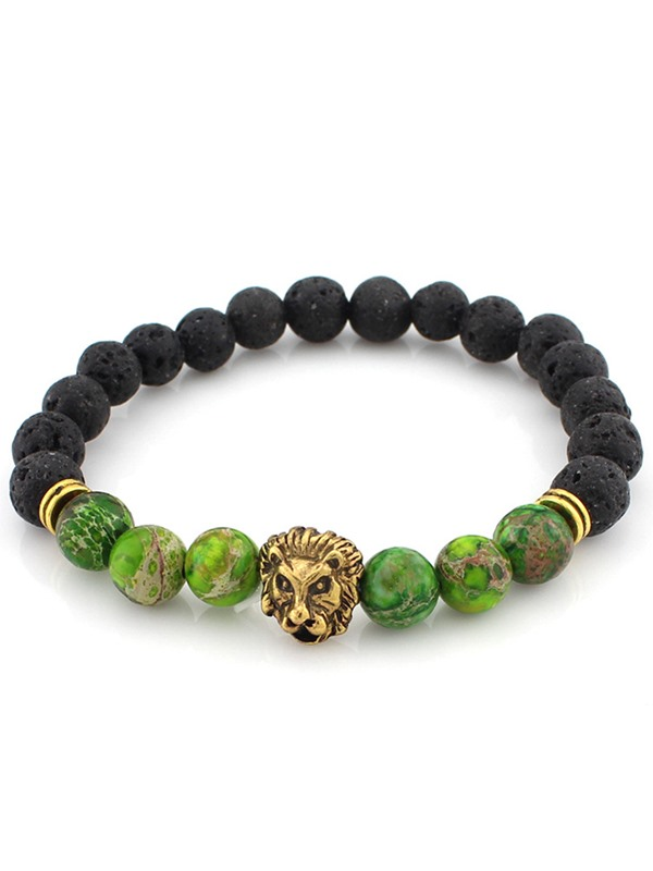 Gold Plated Lion Head Energy Stone Beads Bracelet
