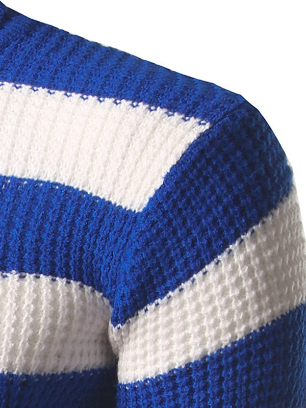 High Collar Stripe Men's Casual Sweater