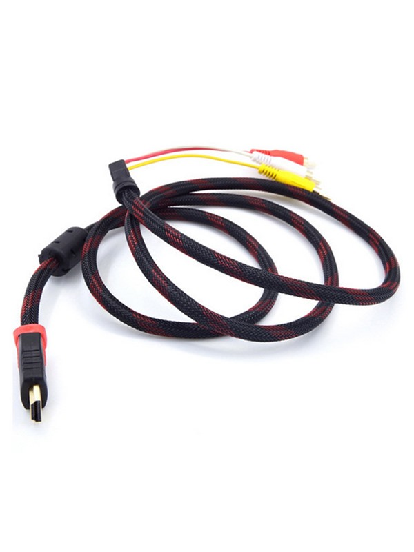 1.5M 5Ft Nylon Red Black HDTV HDMI Male to 3 RCA Audio Video AV Cable Cord Adapter