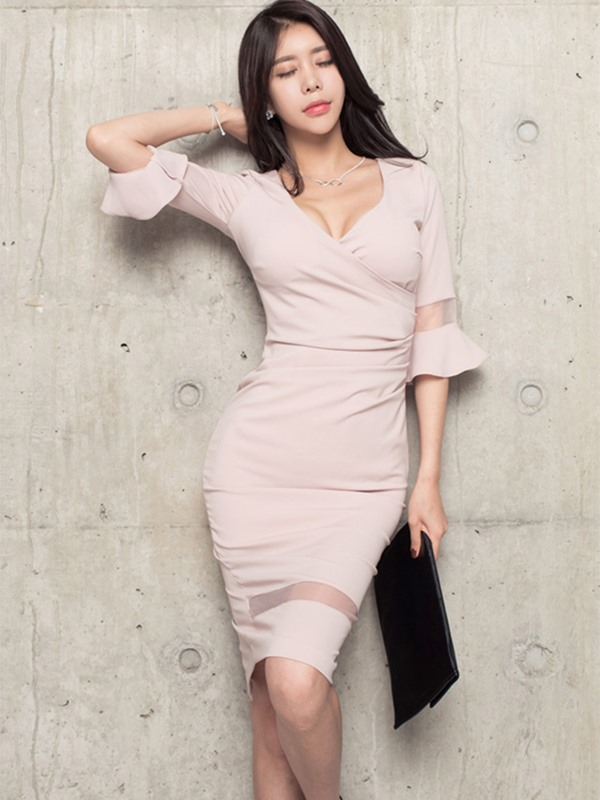 V-Neck Flare Sleeve Mesh Bodycon Dress