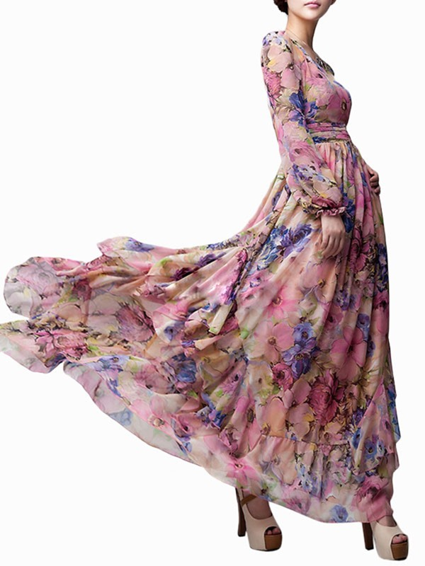 Lantern Sleeve Floral Print Women's Maxi Dress