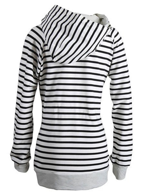 Stylish Stripe Slim Women's Hoodie