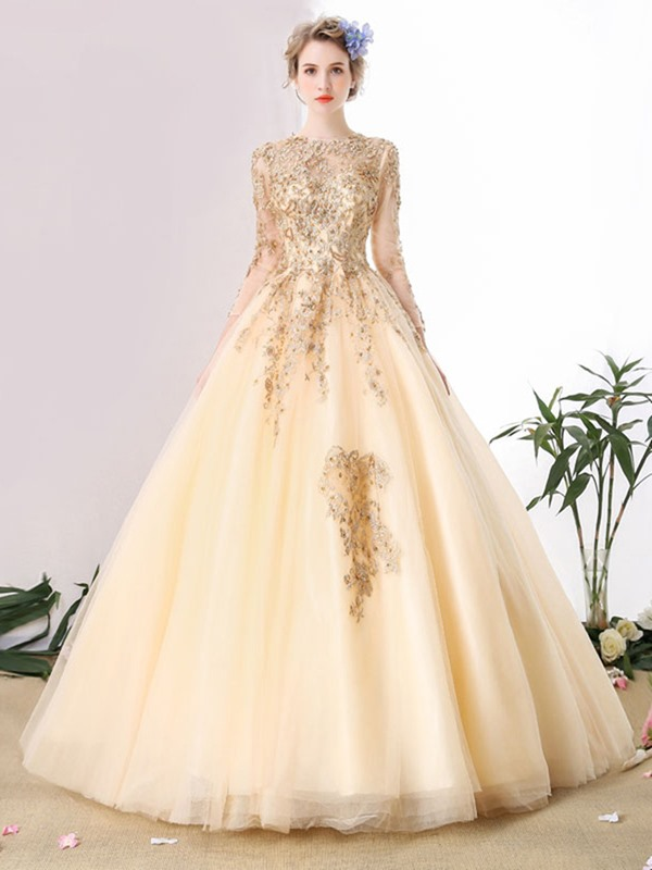 Gorgeous Jewel Ball Gown Long Sleeves Lace Pearls Floor-Length Quinceanera Dress