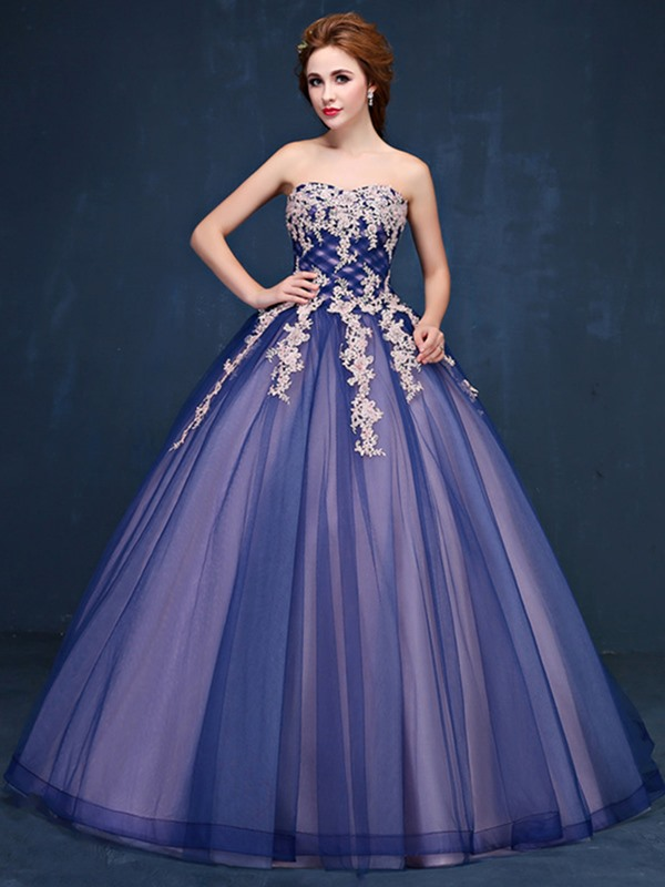 Vintage Ball Gown Sweetheart Appliques Beaded Floor-Length Quinceanera Dress