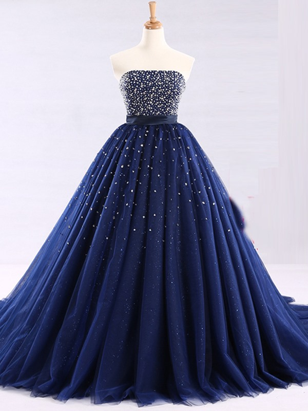 Attractive Strapless Ball Gown Beaded Floor-Length Quinceanera Dress