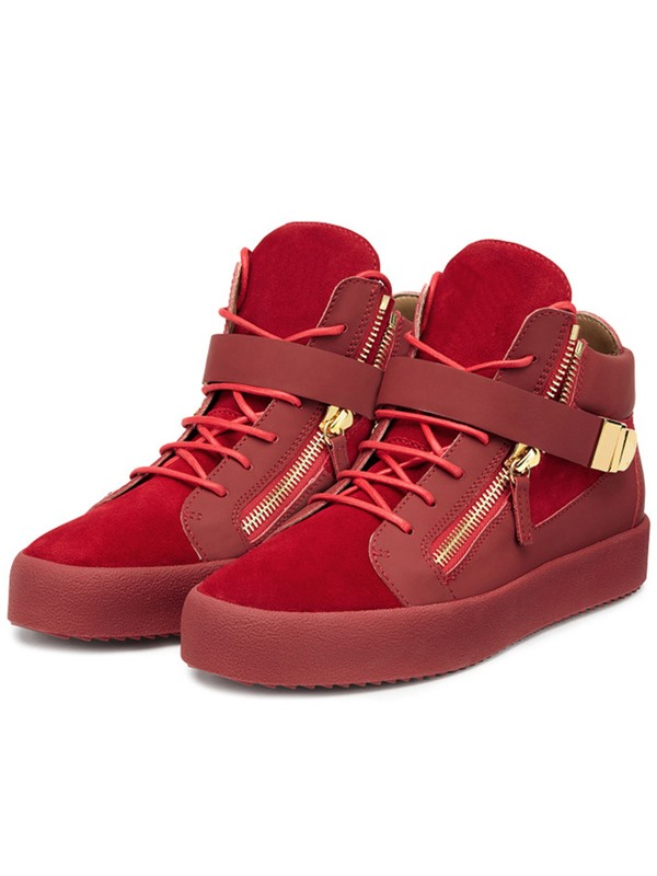 PU Lace-Up Zipper Round Toe Chic Women's Sneakers