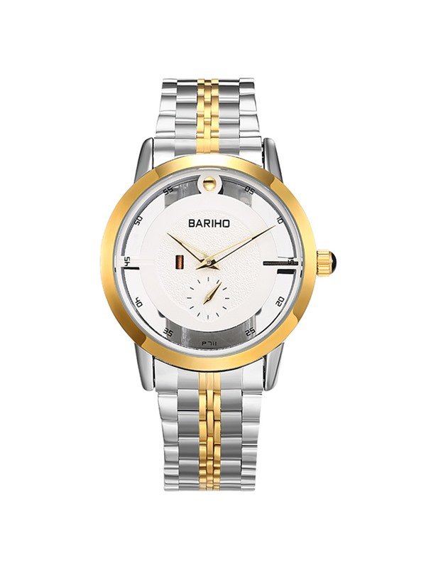 Two-Tone Stainless Steel Band Men's Business Watch