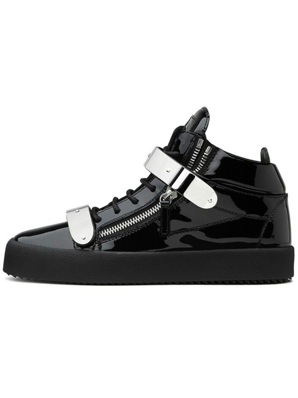PU Velcro Black Round Toe High-Cut Upper Men's Sneakers