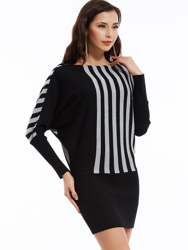 Color Block Vertical Striped Batwing Sleeve Sweater Dress
