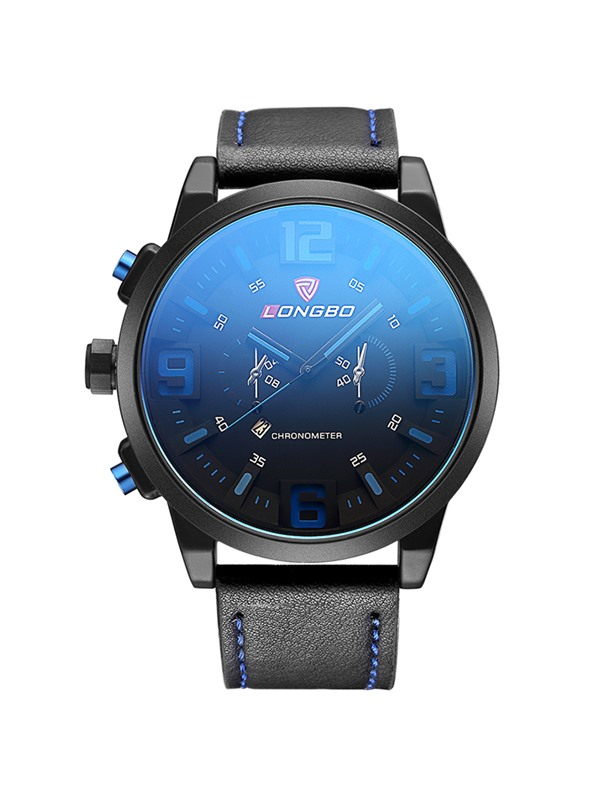 Analog Display Blue Glass Surface Men's Quartz Watch