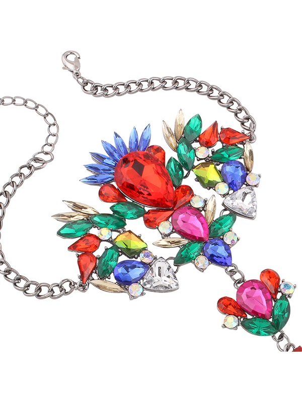 Colorful Artificial Gemstones Inlaid Alloy Anklet