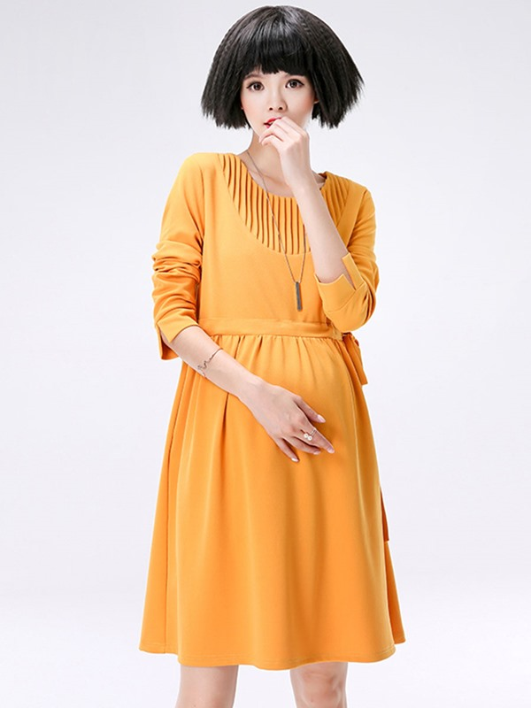 Candy Color Pleated Side-Tied Maternity Dress