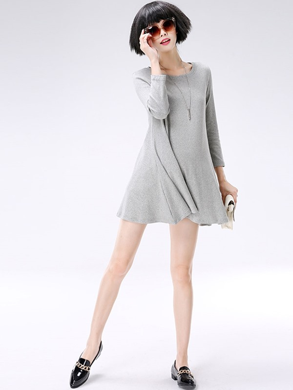 Solid Color Pleated Maternity Dress
