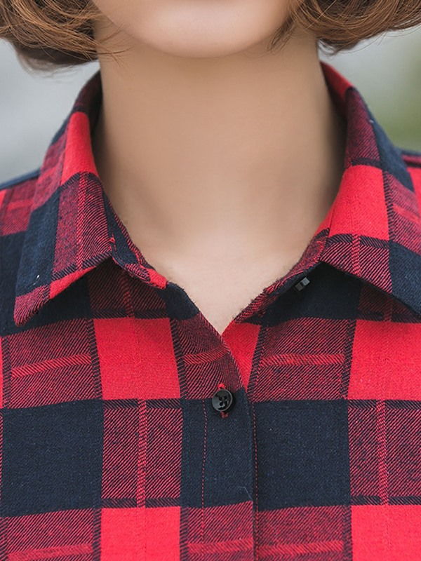 Colored Plaid Loose-Fit Oversized Maternity Shirt