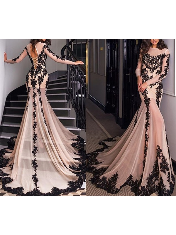 Gorgeous Jewel Trumpet 3/4 Length Sleeves Appliques Chapel Train Evening Dress