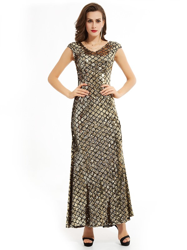 Gorgeous V-Neck Sheath Zipper-Up Sequins Mermaid Evening Dress