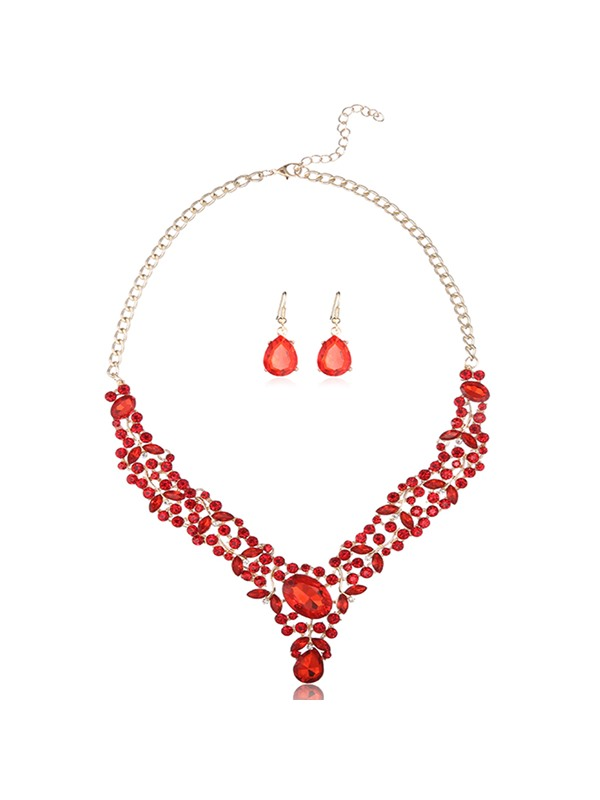 Full Rhinestone Alloy Two Pieces Women's Jewelry Set