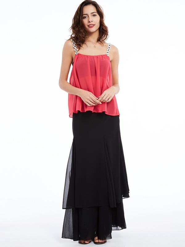 Stylish Solid Color Chiffon Tank Top