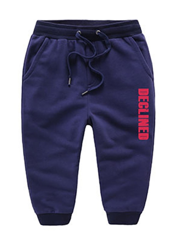 Solid Color Lettered Ruched-Hem Kid's Pant