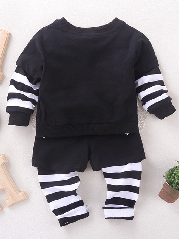 Simple Printing Loose-Fit Baby's Outfit