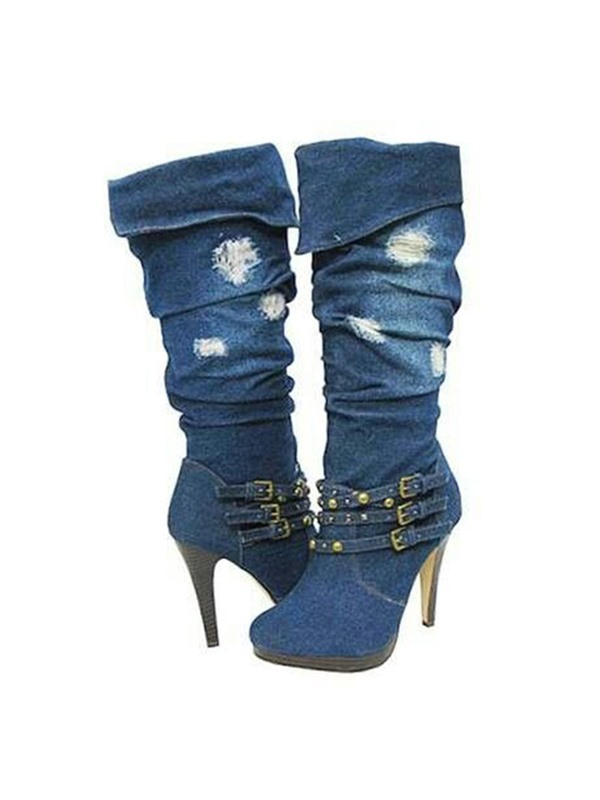 Denim Slip-On Worn Side Zipper Women's Knee High Boots
