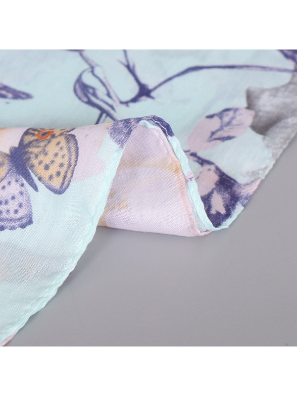 Butterfly & Flowers Printed Women's Cotton Scarf