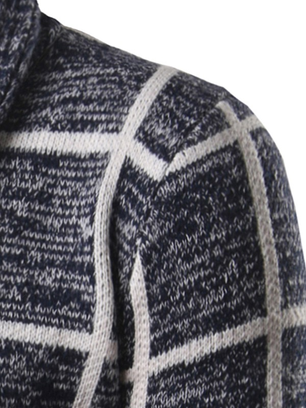 Plaid Single-Breasted Men's Causal Sweater