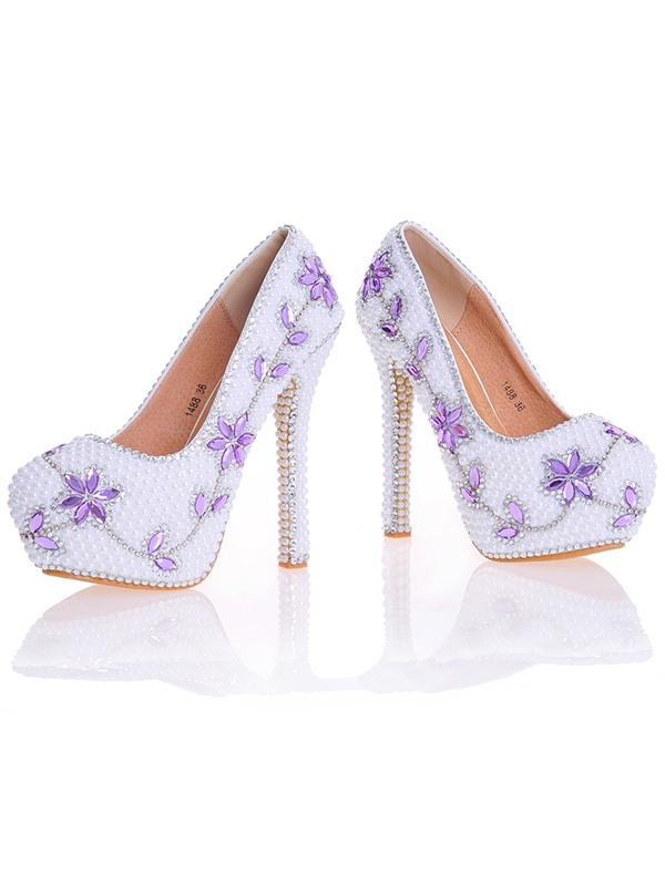 PU Beads Rhinestone Platform High Heel Wedding Shoes