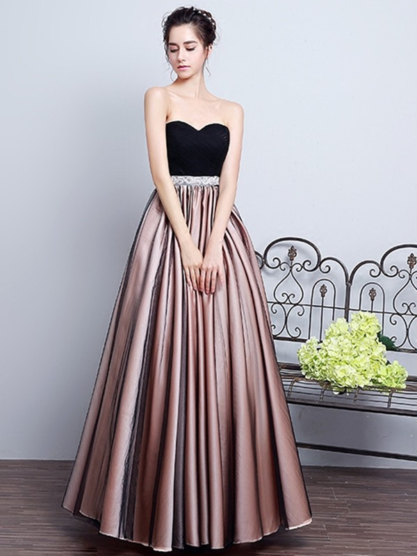 A-Line Sweetheart Pleats Sashes Prom Dress