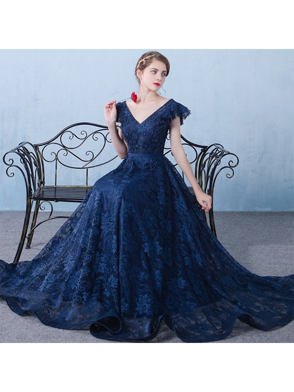 V-Neck Appliques Beading Lace Long Evening Dress
