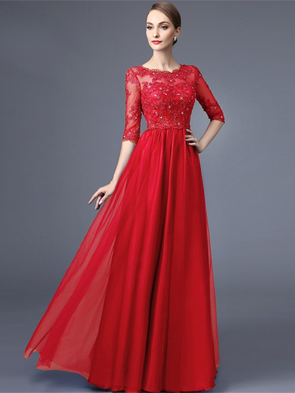 Elegant A-Line Scoop Half Sleeves Appliques Beading lace Long Evening Dress