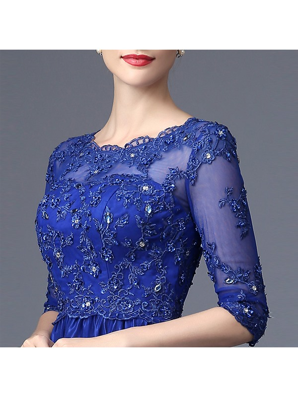 A-Line Scoop Appliques Beaded Lace Evening Dress